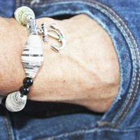 Gift for Him, Anchors Away, MEN'S Bracelet, Paper Beads, Holiday Gift, Gift for Man, READY to SHIP, Hippie, Tribal