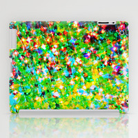 HOLIDAY CHEER - Bold Christmas Festive Green Red Yellow Sparkle Stars Glitter Bling Abstract Art iPad Case by EbiEmporium