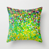 HOLIDAY CHEER - Bold Christmas Festive Green Red Yellow Sparkle Stars Glitter Bling Abstract Art Throw Pillow by EbiEmporium