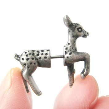 3D Realistic Deer Doe Animal Fake Gauge Stud Earrings in Silver