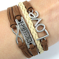 blessing bracelets- infinite love bracelets, leather bracelets ,mens womens bracelets,brown rope,personalized gifts 430