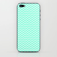 Chevron Mint Green Print iPhone & iPod Skin by productoslocos