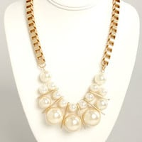 Pearls' Night Out Gold and Pearl Necklace