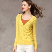 Autumn Newly Lace Slim Long Sleeve Cardigan Yellow