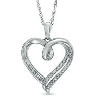 Diamond Accent Heart Pendant in Sterling Silver
