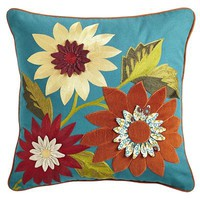 Teal Floral Pillow