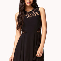 Fit & Flare Lace-Trimmed Dress