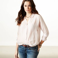 AE PANELED CHIFFON BUTTON DOWN