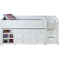 Gabriella Winter White Twin Jr. Loft Bed w Dresser & Bookshelf