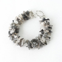 Genuine Rutilated Quartz Stone Chips Bracelet in Black and White Shade, Chunky Stack Bracelet