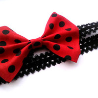 SALE Red Black Polka Dot Baby/Adult Lace Headband Hairbow