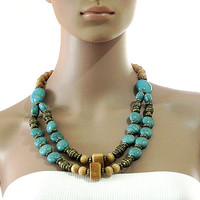 Turquoise Necklace Beige Beaded Necklace with Chunky Beads - Bohemian Necklace 2-tier Necklace Handmade Jewelry for Women - Gift for Her