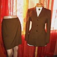 JONES NEW YORK SUIT HAVANA CIGAR SKIRT W JACKET  LINED! SIZE 10/6! MADE IN USA
