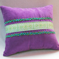 Vintage Purple Corduroy & Vintage Trim Throw Pillow