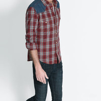 CHECKED JACQUARD SHIRT WITH CONTRASTING YOKE AND TWO POCKETS