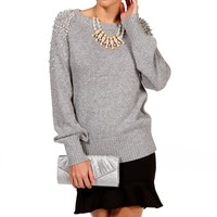 Heather Grey Pearl Embellished Sweater