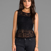 Jack by BB Dakota Jessamne Nouveau Lace Peplum Top in Black