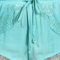 Mint Lace Jogger Shorts