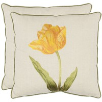 Solitude 18-inch White/ Gold Decorative Pillows (Set of 2)