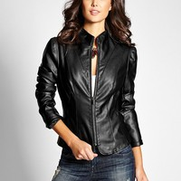 Sierra Mock-Neck Faux-Leather Jacket | GUESS.com