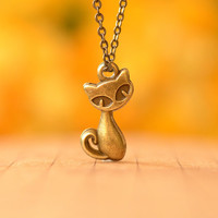 retro bronze cat pendant ,lovely baby cat necklace ,so cute cat ,best gift for your friend and lover--N101