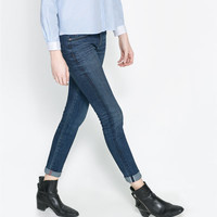 DARK WASH DENIM TROUSERS