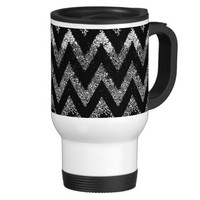 chevron coffee travel mug in black and white