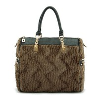 Fashion Stylish Retro Flocky Spliced Handbag
