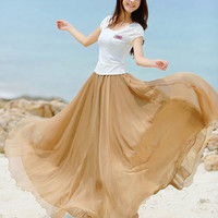 women's dress silk Chiffon 8 meters of skirt circumference long dress/skirt / maxi skirt /maxi dress/cotton skirt/Dress