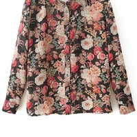 Floral Button-up Chiffon Shirt