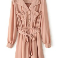 Belted Chiffon Shirt Dress