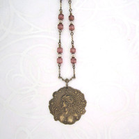 Victorian Jewelry - Romantic Necklace - Rose Pink Subtle - Peacock Lady Cameo - Antique Gold Brass
