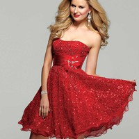 Clarisse 2012 Homecoming 2013 Prom Lust Red Strapless Sequin Short Dress 2020 | Promgirl.net