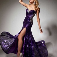 Tony Bowls 2013 Purple Long Strapless Sequin Sweetheart Prom Gown 113711 | Promgirl.net