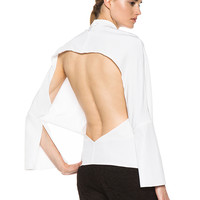 Moroccan Open Back Blouse in White