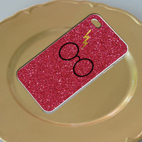 Harry Potter Glasses Glitter Red For Iphone 4/4s/5/5c/5s Plastic Case, iPhone 4/4s, 5 Rubber Case and Samsung S2/S3/S4 Plastic/Rubber case