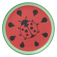 Watermelon and Ladybug Cute Plate