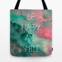 Be Happy and Smile Tote Bag by Louise Machado