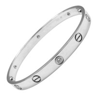 CARTIER White Gold Six Diamond 'LOVE' Bracelet Size 18