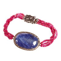Jade Jagger Oval Blue Sapphire, Ruby Bead and Diamond Bracelet.