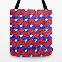 Chevron Star Spangled Banner Tote Bag by Alice Gosling