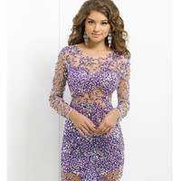 (PRE-ORDER) Blush 2014 Prom Dresses - Violet & Nude Tulle Long Sleeve Prom Dress