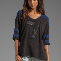 Free People Sporty Bling Tee in Charcoal/Navy Combo