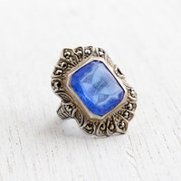 Vintage Art Deco Sapphire Blue Ring - Size 5 1930s Sterling Silver & Marcasite Signed Uncas Jewelry / Statement Shield