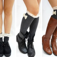 Lace Bow Side Knee High Lace Boot Socks - Dark Grey