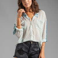 Free People Printed Easy Rider Button-down in Tea Combo