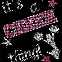 Rhinestone Iron-On Transfer - It's A Cheer Thing - DIY Iron On Rhinestone Transfer