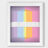 8x10 Print Be Unique Rainbow Pastel Geometric Modern Abstract 3D Wall Art Office Wall Decor