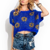 Going-Daisy-Fuzzy-Tinsel-Sweater BLACK ROYAL - GoJane.com
