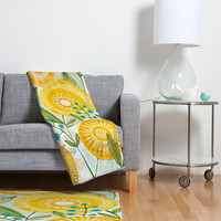 Cori Dantini Sun Burst Flowers Fleece Throw Blanket